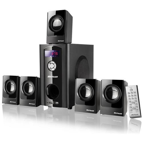 Home Theater 5.1 Canais 80W RMS de Potencia, Radio FM, Controle Remoto, Bivolt Black Wave SP110 - MULTILASER