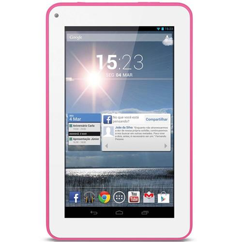 Tablet Multilaser Supra MLX7 Rosa com Android 4.4, Dual Core 1.2GHz 8GB - NB154
